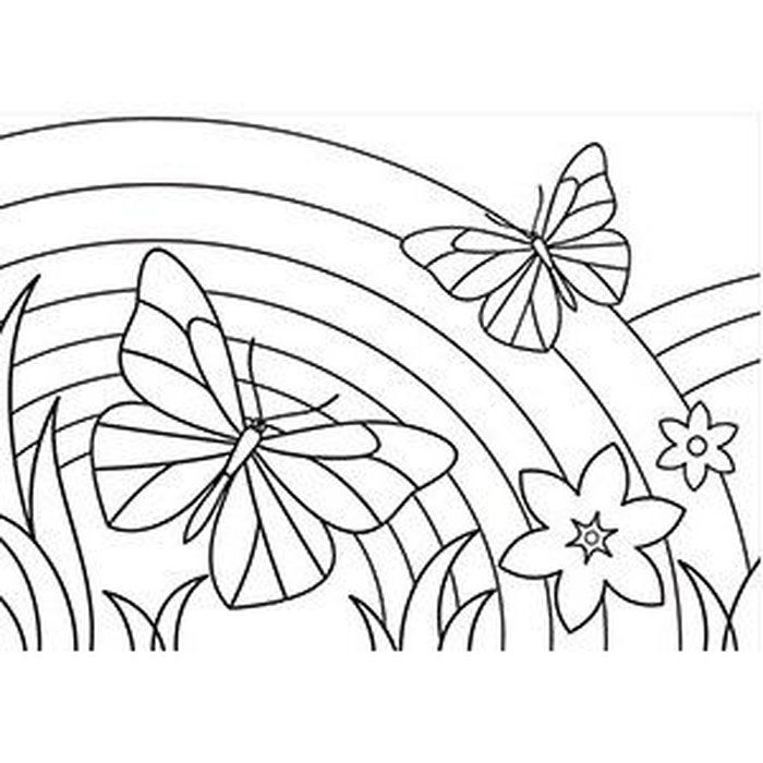 Rainbow Coloring Page With Images Preschool Coloring Pages