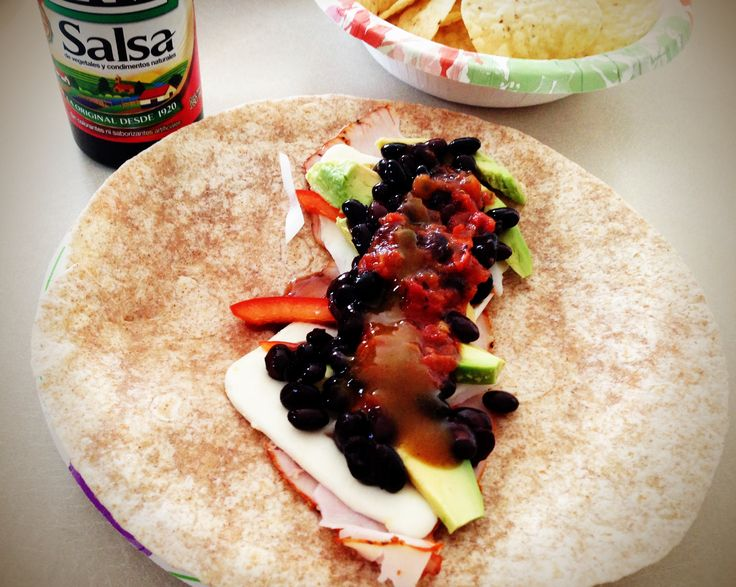 Cold Cuts Burrito! (Turkey, Cheese, Black Beans, Red Pepper, Onion ...