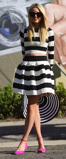 OMG bought this skirt in Italy Brittny bought one too... Striped  on trend  <3 it !!
