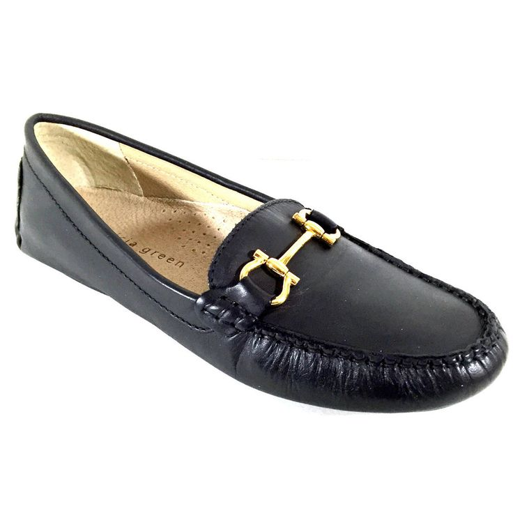 Patricia Green Britt 8.5 M Black Leather Loafer Slip On Driving Moccasin  Flats