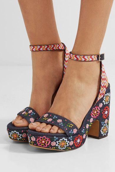 Tabitha Simmons - Calla Festival Embroidered Denim Sandals - Dark denim - IT37.5