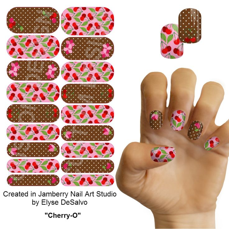 "Nail Art Studio: ""Cherry-O"" Jamberry Nail Art Studio Custom Nail Design By"
