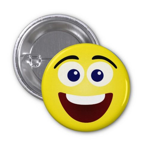 Laughing Yellow Smiley Face Button - Put a smile on someone's face (or shirt, or hat, or apron) with this cute laughing smiley face button!