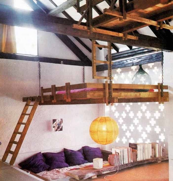 Unique Loft Bed In Kids Bedroom Design Ideas. Suspended Bed In Grey Wall  Painting In Kids Bedroom Design Ideas. White Cubby Hole Bunks For Three In  Kids ...