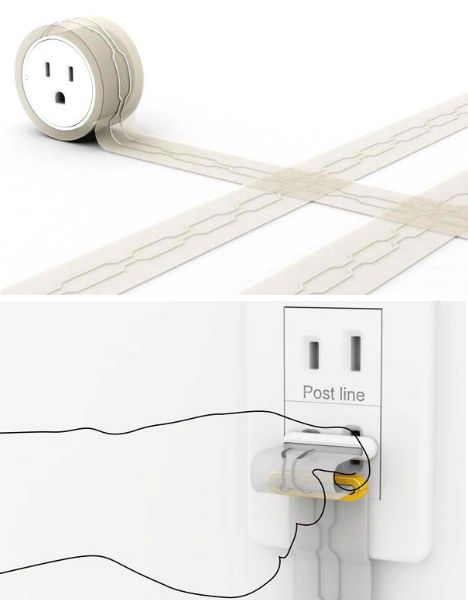 power flat extension cord for going under rugs chic utilities pinterest cord and extensions. Black Bedroom Furniture Sets. Home Design Ideas