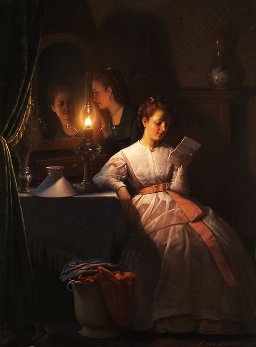 "femme-de-lettres:  Large (Wikimedia) This is Petrus van Schendel's The Love Letter, painted sometime before 1870. As Christie's comments, ""h..."