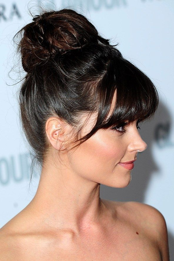 A classic bun took on a modern twist with added texture, a few strands teased out and a soft fringe, courtesy of Dr Who star Jenna-Louise Coleman