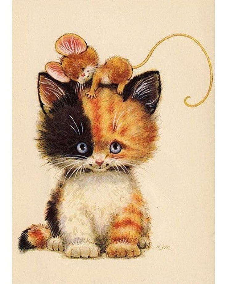 Открытки с котятами прикольные нарисованные