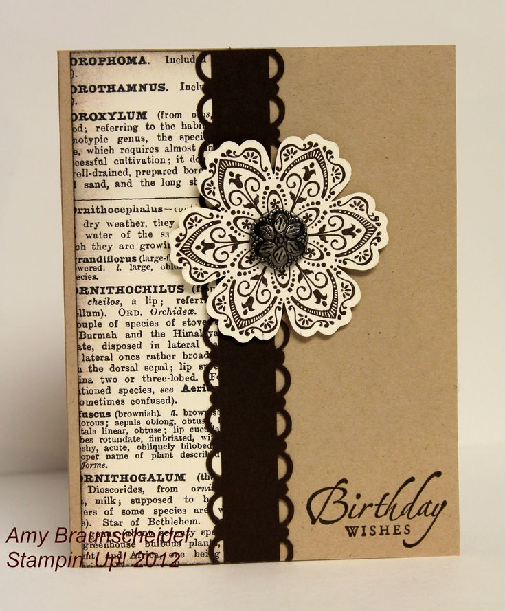 handmade birthday card ... kraft base with black and vanilla ... luv this combo ... book paper ... ornamental fower ... Stampin' Up!