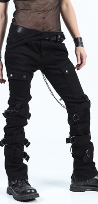 LIP SERVICE MENS ASYLUM BONDAGE JUNKIE-STRETCH TWILL GOTH PANTS 30/31/32 - Cool pants.