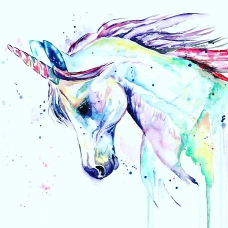 Unicorn watercolor by Lisa Whitehouse                                                                                                                                                                                 More