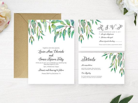 Printable Wedding Invitation Suite // Greenery Wedding Invitation // Native Australian Wedding Invitation // Green Leaves Invitation
