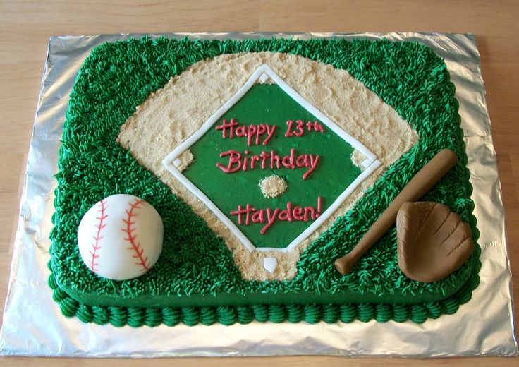 Baseball Cake: Vanilla cake w/ vanilla buttercream icing.  Baseball field...