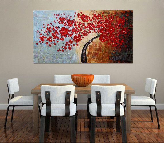 Dipinti a mano di grandi dimensioni Cherry Blossom Tree parete