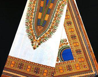 African Dashiki Fabric Unwaxed Ankara 100% Cotton By The Panel Yard Free Shipping White