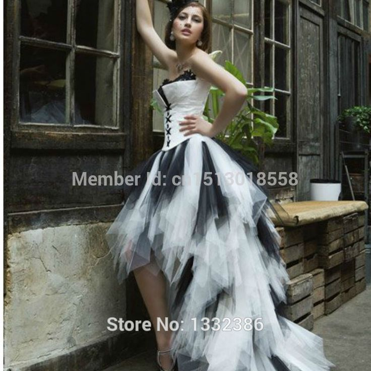 Short white and black wedding dress