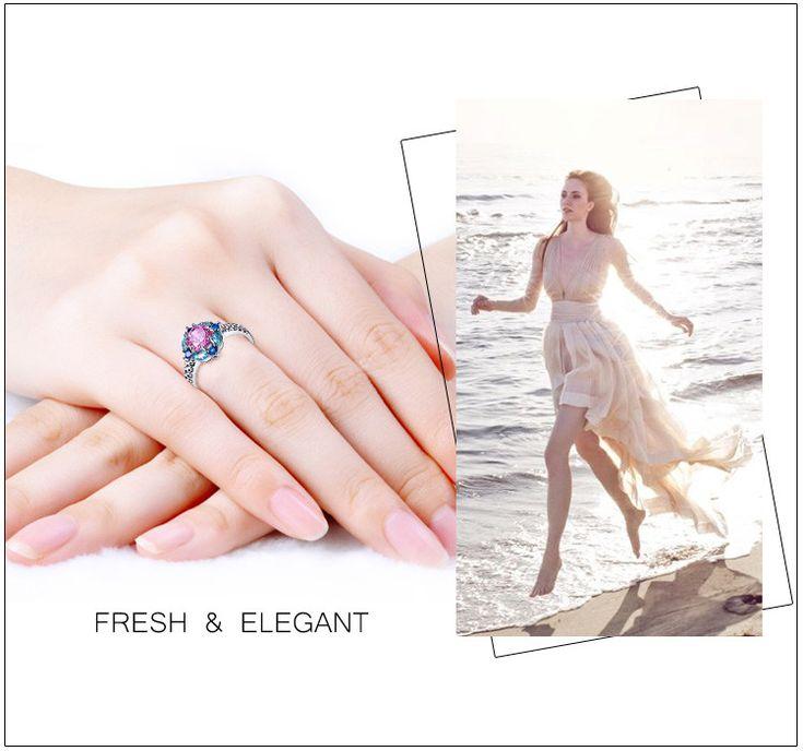 Jrose соцветия ювелирные изделия свадебный ну вечеринку кольца для женщин розовый топаз лондон голубой топаз сапфир 18 К кольцо из белого золота оптовая продажа купить на AliExpress