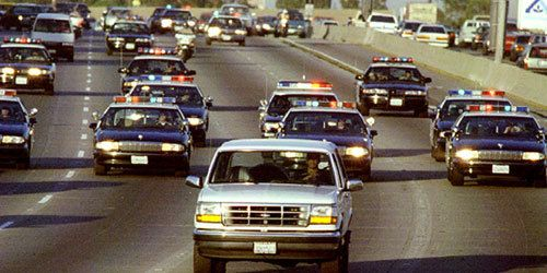 O.J. Simpson running from police on June 17th, 1994.