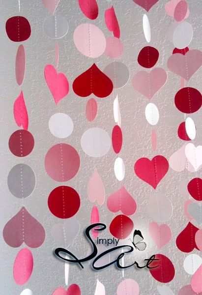 I Love You garland Set of TWO Pink Red White Hearts and Polka Dots SWEET Wedding Birthday Anniversary Home Office Decoration - Eco friendly. $18.99, via Etsy.