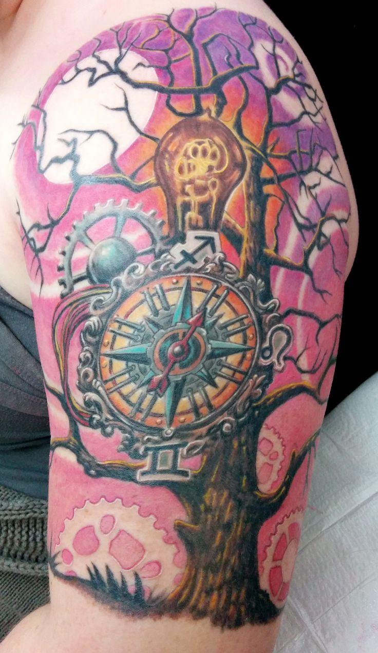 Steampunk tattoo, tree, compass, etc.   Tattoos I did ...