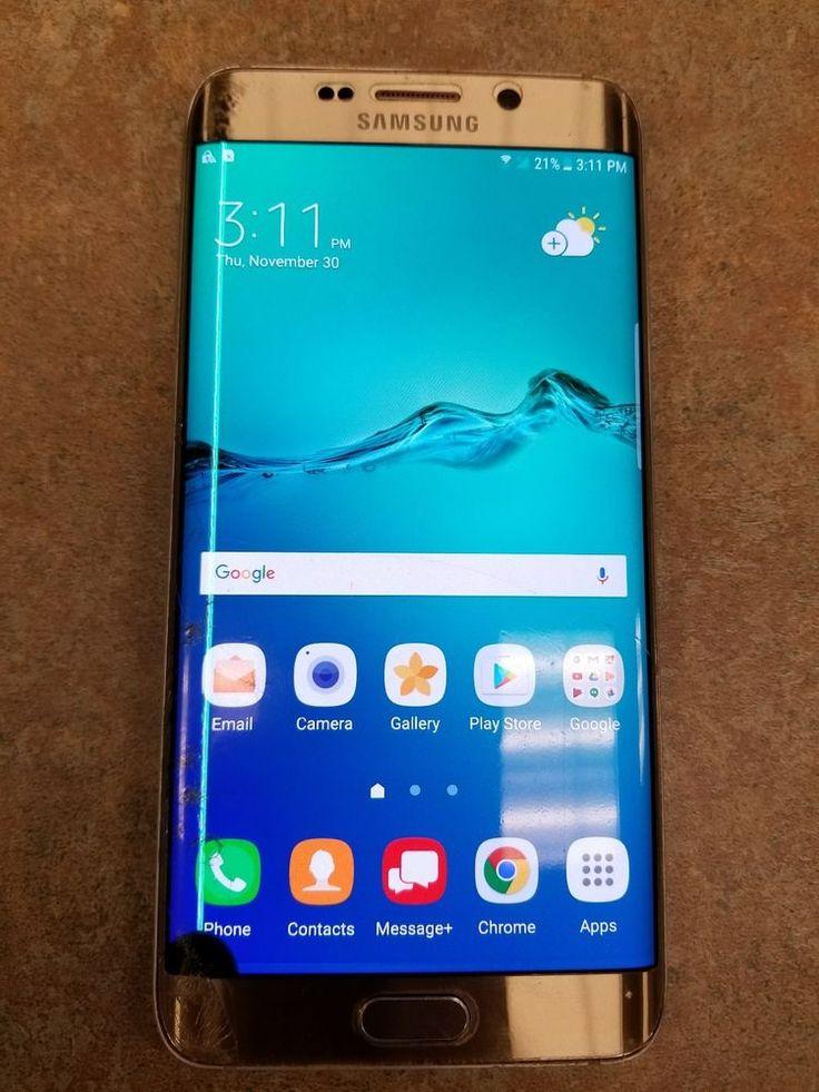 Samsung Galaxy S6 edge+ Gold (Verizon) Smartphone - Cracked Screen/LCD Clean ESN #Samsung #TouchScreen