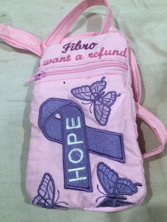 "Fibromyalgia awareness says ""fibro i want a refund"" phone case, handy shop carry all, medication bag"