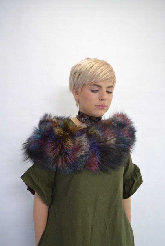 Real fur collar multicolour fox collar black fox fur by BeFur