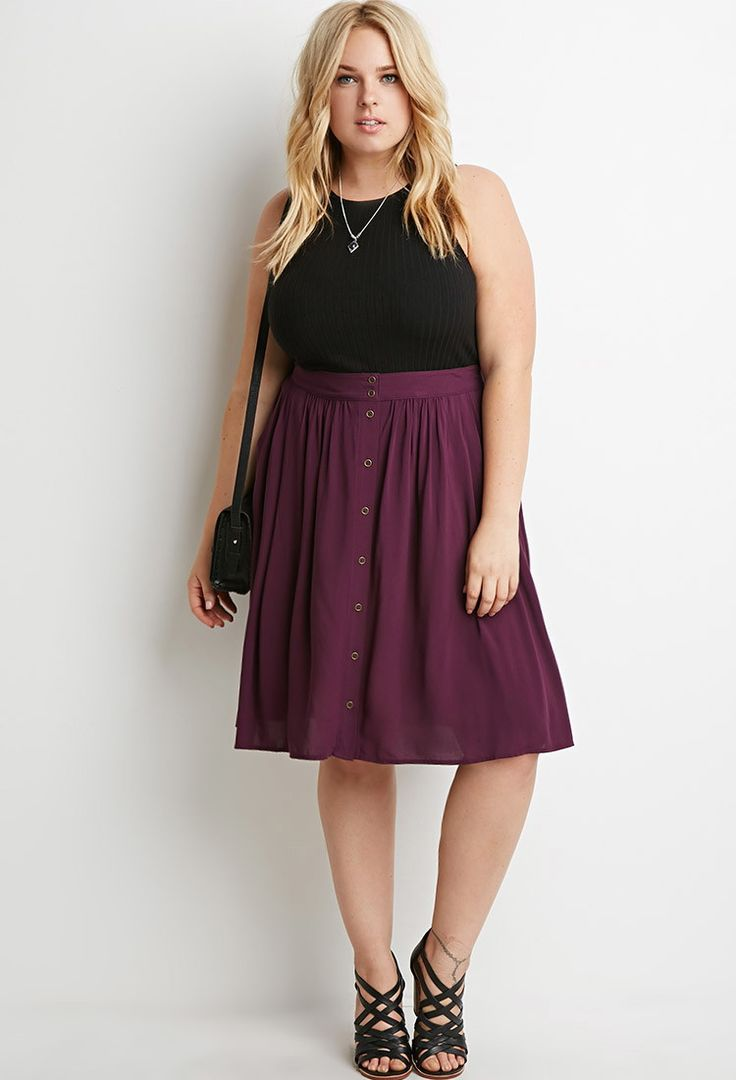 Buttoned A-Line Skirt | Forever 21 PLUS - 2000158005