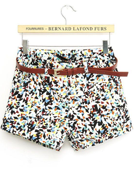 Multicolor Geometric Print Straight Shorts US$23.26