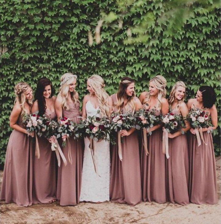 2017 dusty rose pink bridesmaid dresses sweetheart catch broken TD745 chiffon skirt long bridesmaid dress, wedding dress(China (Mainland))