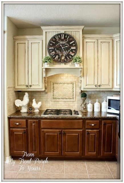 DIY Kitchen Makeover Builder Grade To French Country Chic White Upper Cabinets W Dark Lowers