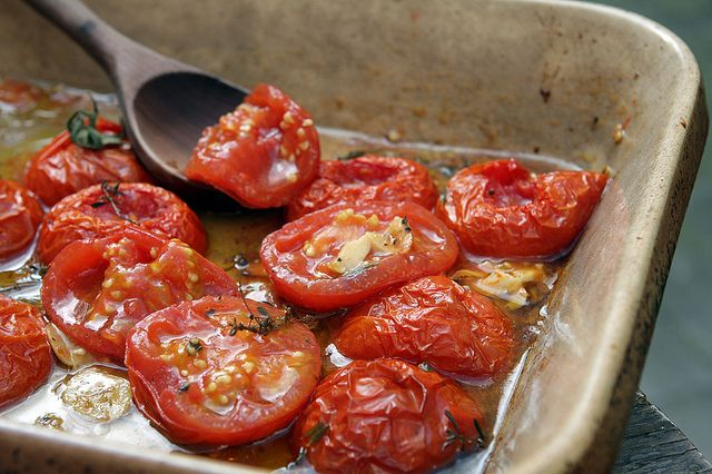 an Italian red wine with pasta topped with these oven-roasted tomatoes ...