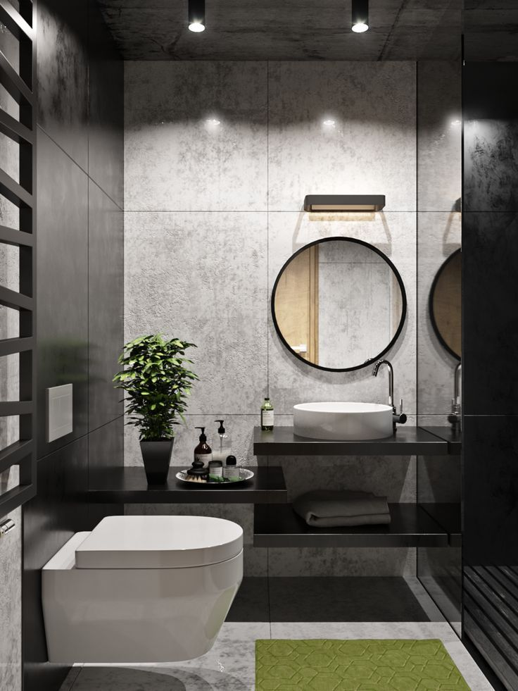 Sanuzel Love The Fabulous Grey Black Walls In This Beautiful Bathroom They Highlight The White Fixtures Toilet Design Black Toilet Modern Bathroom Design