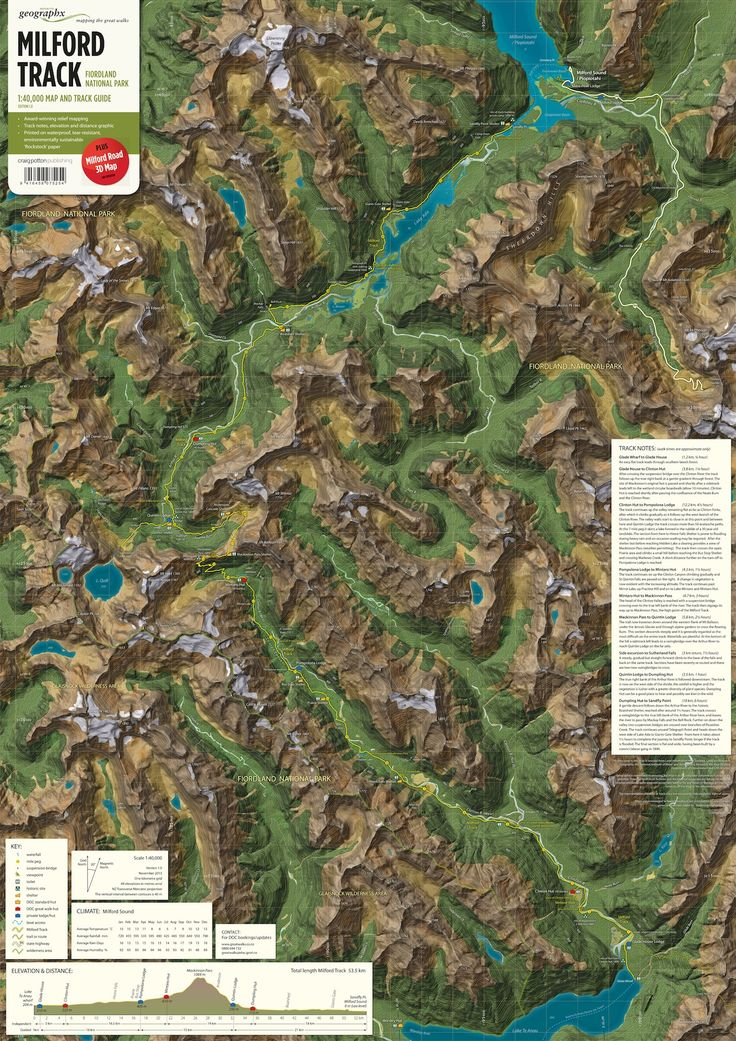 North America Map Quiz Physical Features%0A MapCarte The Milford Track by Roger Smith Geographx