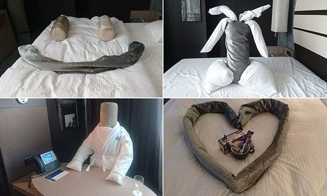 Hotel guest creates hilarious objects for cleaner