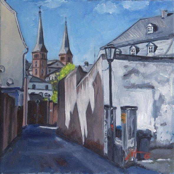 "TrierPlus Tag 8, ""Große Eulenpfütz"" 20x20 cm, Öl auf Leinwand © Josef Hammen 2017  #instaart #followme #oldtown #architecture #street #streetscene #spring #bluesky #lightandshadow #art #arts #artwork #artworks #artist #paint #painting #painter #paintingoftheday #daily #dailypic #dailypainting #oil #oilpainting #trier #josefhammen"
