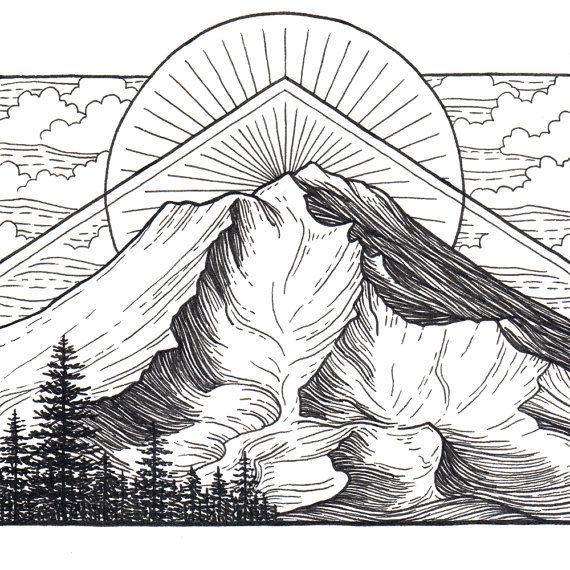 Berg Art Giclee Print - Mount Shasta, California - zwart-wit Pen- en Inkthulpprogramma landschap tekening - 5 x 5