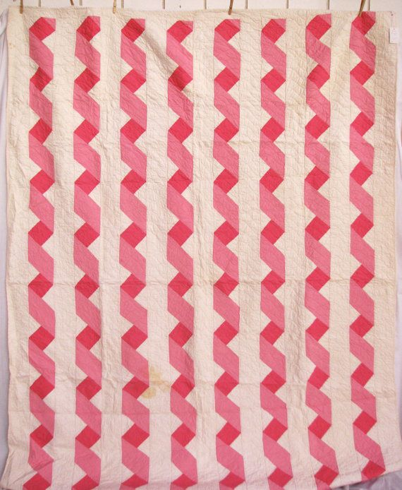 Vintage Quilt - pink and white strippy antique quilt