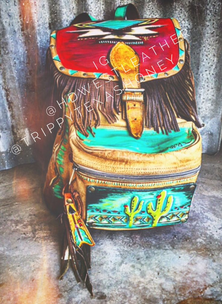 Funky western boho backpack #fringe