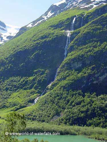 Angled view from near the road closure spot by Rauhella of Ramnefjellsfossen