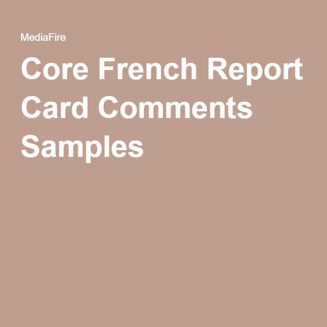 Core French Report Card Comments Samples