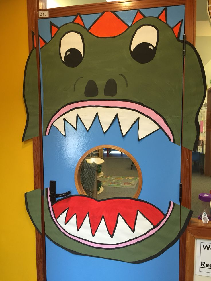 Classroom Ideas For Halloween Party ~ Dinosaurs classroom door decoration