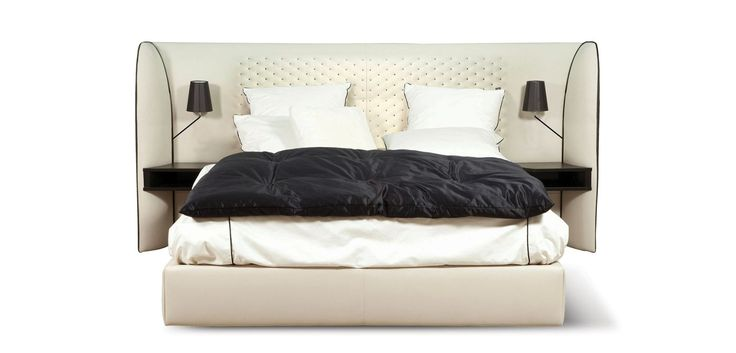 Bed frame and headboard in solid wood and plywood Filling: polyurethane foam 40 kg/m3 and fibers Base (invisible) in solid beech with black stain    Bed... Read more