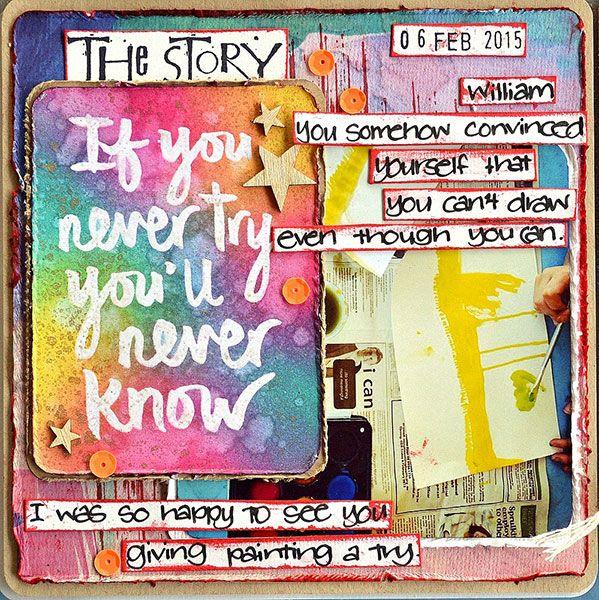 Pocket scrapbook page by Belinda Spencer using Darkroom Door Try Quote Stamp. http://www.darkroomdoor.com/quote-stamps/quote-stamp-try-pre-order