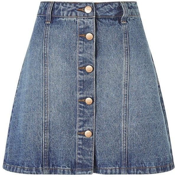 Anita And Green Denim Skirt ❤ liked on Polyvore featuring skirts, bottoms, button down skirt, button up skirt, denim skirt, blue skirt and knee length denim skirt