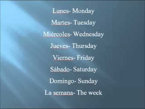 Spanish Days of the Week song - Thought I'd post this just in case I use it in the future.