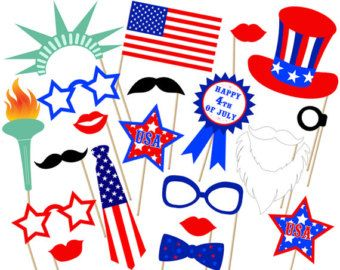 4th of July Printable Photo Booth Props American by SurpriseINC