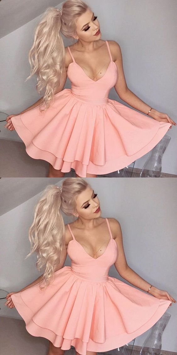 Spaghetti Straps Dresses,Short Homecoming Dresses,Pink Dresses,Homecoming Dresses,108 - Thumbnail 1