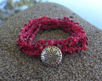 Crochet bracciale / collana perline oliva Nomade festa