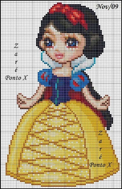 Snow White hama perler beads pattern - encantosempontocruz cross stitch